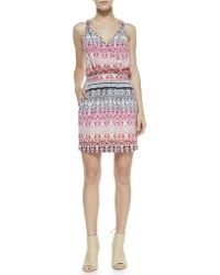 Cusp By Neiman Marcus Sleeveless Tapestryprint Knotted Dress Pink - Lyst