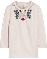 Mary Katrantzou Velvo Embellished Wool Top - Lyst