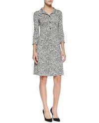 Diane Von Furstenberg Collared Rose Heart Print Shirt Dress  - Lyst