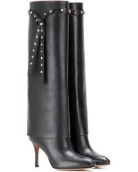 Valentino | Embellished Leather Knee-high Boots | Lyst