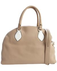 Christian Louboutin Beige Leather Convertible Top Handle Bag - Lyst