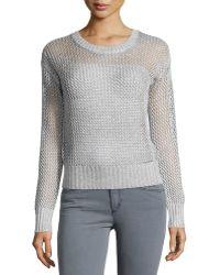 Minnie Rose   Long-sleeve Metallic Crochet Sweater   Lyst