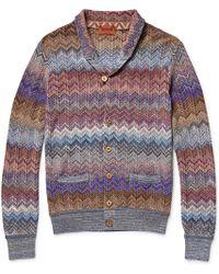 Missoni Zig-Zag Crochet-Knit Shawl-Collar Cardigan - Lyst
