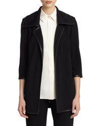 St. John Milano Leather-Trim Open-Front Jacket - Lyst