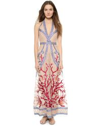 Temperley London Long Coral Dress - Coral Mix - Lyst
