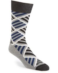 Hook + Albert - 'bluestone' Stripe Diamond Socks - Lyst