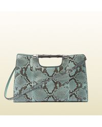 Gucci Bamboo Handle Python Tote - Lyst