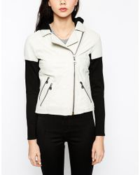 Doma Leather Jacket With Knitted Sleeves And Detachable Hood - Lyst