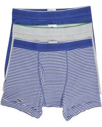 Lacoste 3-Pack Of Blue Els Cotton Boxer Shorts - Lyst