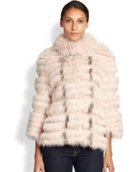 Yves Salomon Textured Fox  Rabbit Fur Jacket - Lyst