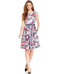 Ellen Tracy Abstract-Print Pleated Dress - Lyst