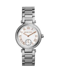 Michael Kors Mini Silver Color Stainless Steel Skylar Three-Hand Glitz Watch - Lyst