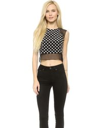 Elizabeth And James Sleeveless Enno Crop Top - Blackivory - Lyst