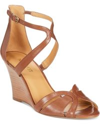 Nine West Champagne Wedge Sandals - Lyst