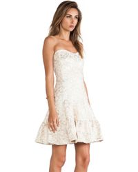 Anna Sui Metallic Daisy Jacquard Strapless Dress - Lyst