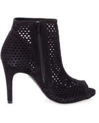 Pedro Garcia Suede Perforated Peep Toe High Heel Bootie - Lyst