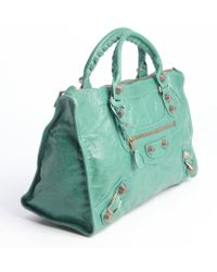 Balenciaga Vert Sauge Green Leather Large Giant Work Bag - Lyst