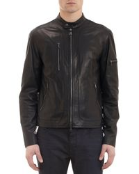John Varvatos Leather Moto Jacket - Lyst