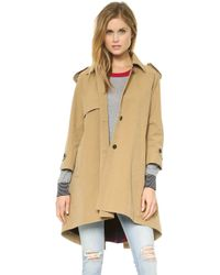 Band Of Outsiders Cutaway Trench Coat with Blanket Lining  Tan - Lyst