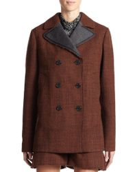 Marni Moulinè Wool Double-Breasted Jacket red - Lyst