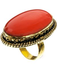 Mango - Oversized Coral Ring - Lyst