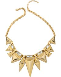 Adia Kibur - Crystal Embellished Necklace - Gold/Clear - Lyst