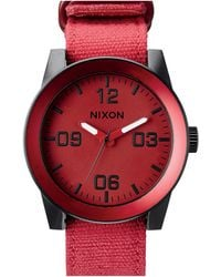 Nixon Corporal Red Ano Watch red - Lyst