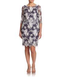 Kay Unger Floral Lace Shift Dress floral - Lyst