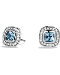 David Yurman Petite Albion Earrings with Blue Topaz and Diamonds - Lyst
