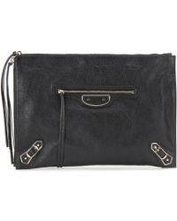 Balenciaga Classic Pouch Metallic Edge Leather Clutch - Lyst
