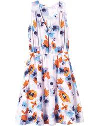 Rebecca Taylor Flowerpress Printed V-Neck Dress - Lyst