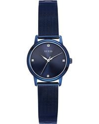 Guess Womens Diamond Accent Blue-tone Mesh Bracelet Watch 28mm - Lyst