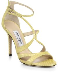 Jimmy Choo Furrow Snake-Embossed Leather Sandals - Lyst