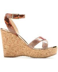 Jimmy Choo Papyrus Snakeskin Wedge Sandals - Lyst