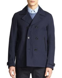 Vince Double-Breasted Bonded Cotton Peacoat - Lyst