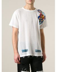 Off-White Open Knit Patch T-Shirt - Lyst