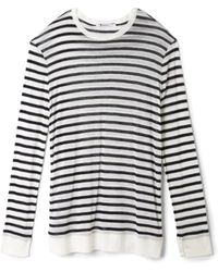 T By Alexander Wang Rayonlinen Long Sleeve Top - Lyst