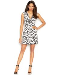 French Connection Cap-Sleeve V-Neck Printed Dress - Lyst