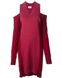 Maison Margiela Burgundy Cut Out Shoulder Dress - Lyst