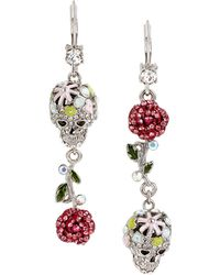 Betsey Johnson - Pave Skull And Rose Double Drop Earring - Lyst