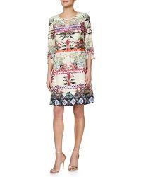 Ranna Gill - 3/4-Sleeve Floral-Print Shift Dress - Lyst
