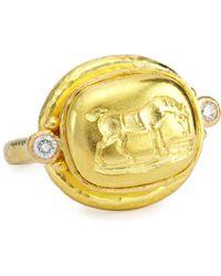 Elizabeth Locke - Grazing Horse 19k Gold & Diamond Ring - Lyst