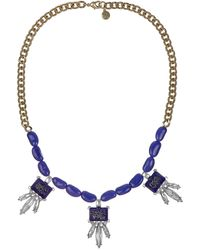 Sam Edelman Gold Tone and Indigo Beaded Cluster Necklace - Lyst