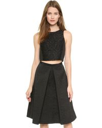 Tibi Worth Embroidery Crop Top  Black - Lyst