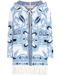 Emilio Pucci Knitted Cotton Poncho - Lyst