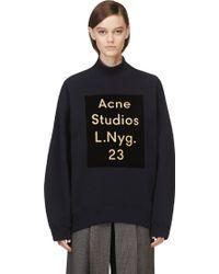 Acne Studios Navy Velvet Logo Beta Sweatshirt - Lyst
