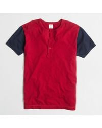 J.Crew Factory Shortsleeve Cotton Baseball Henley - Lyst