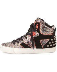 Ash Spirit Studded Glitter Sneaker - Lyst