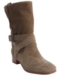 Belle By Sigerson Morrison Taupe Suede Bucklestrap Who Boots - Lyst