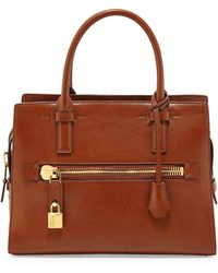 Tom Ford Charlotte Leather Small Tote Bag Tan - Lyst